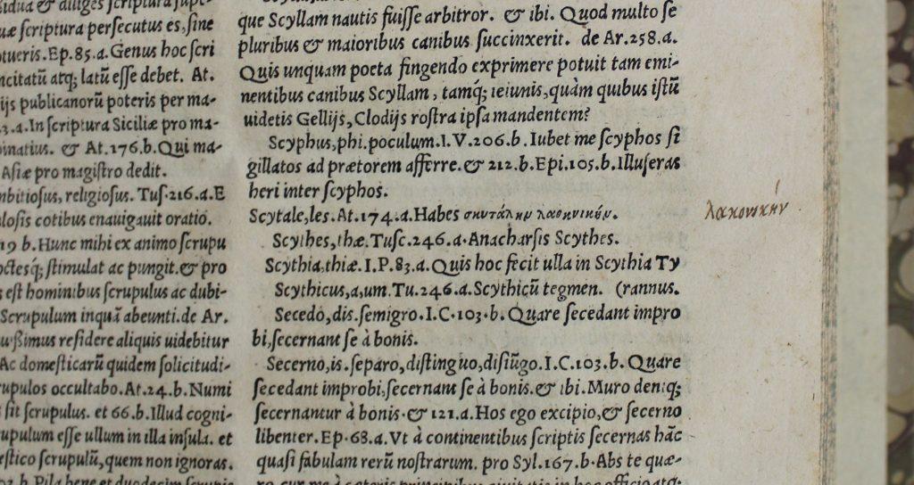 CN 10695%2c Nizolio%2c Dictionarium%2c 1544%2c scytale annotation cropped